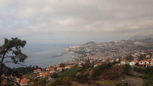 Funchal, die Hauptstadt Madeiras, mit Hafenmole und Marina