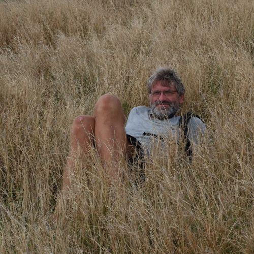 Frank macht Pause im trockenen Gras