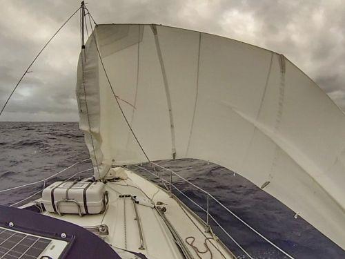 Großes Segel bei Leichtwind