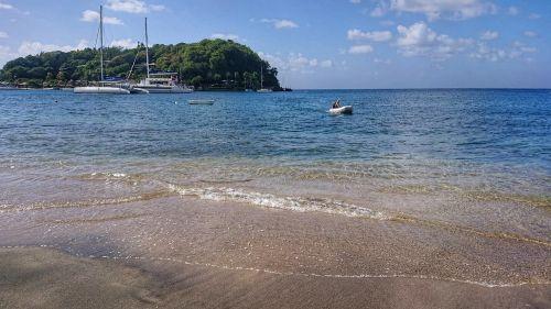 Ich komme mit dem Dinghi zum Strand